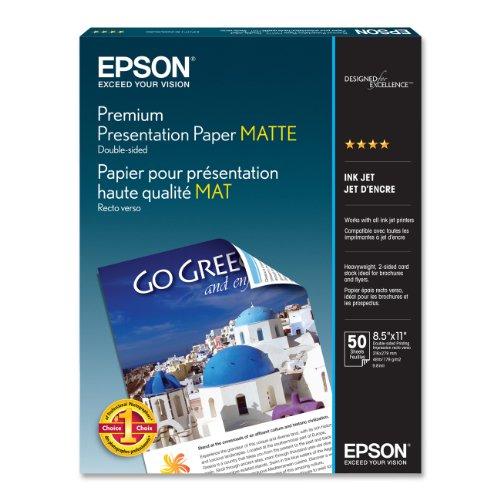 Epson Premium Presentation Paper MATTE (8.5x11 Inches, Double-sided, 50 Sheets) (S041568),Bright White