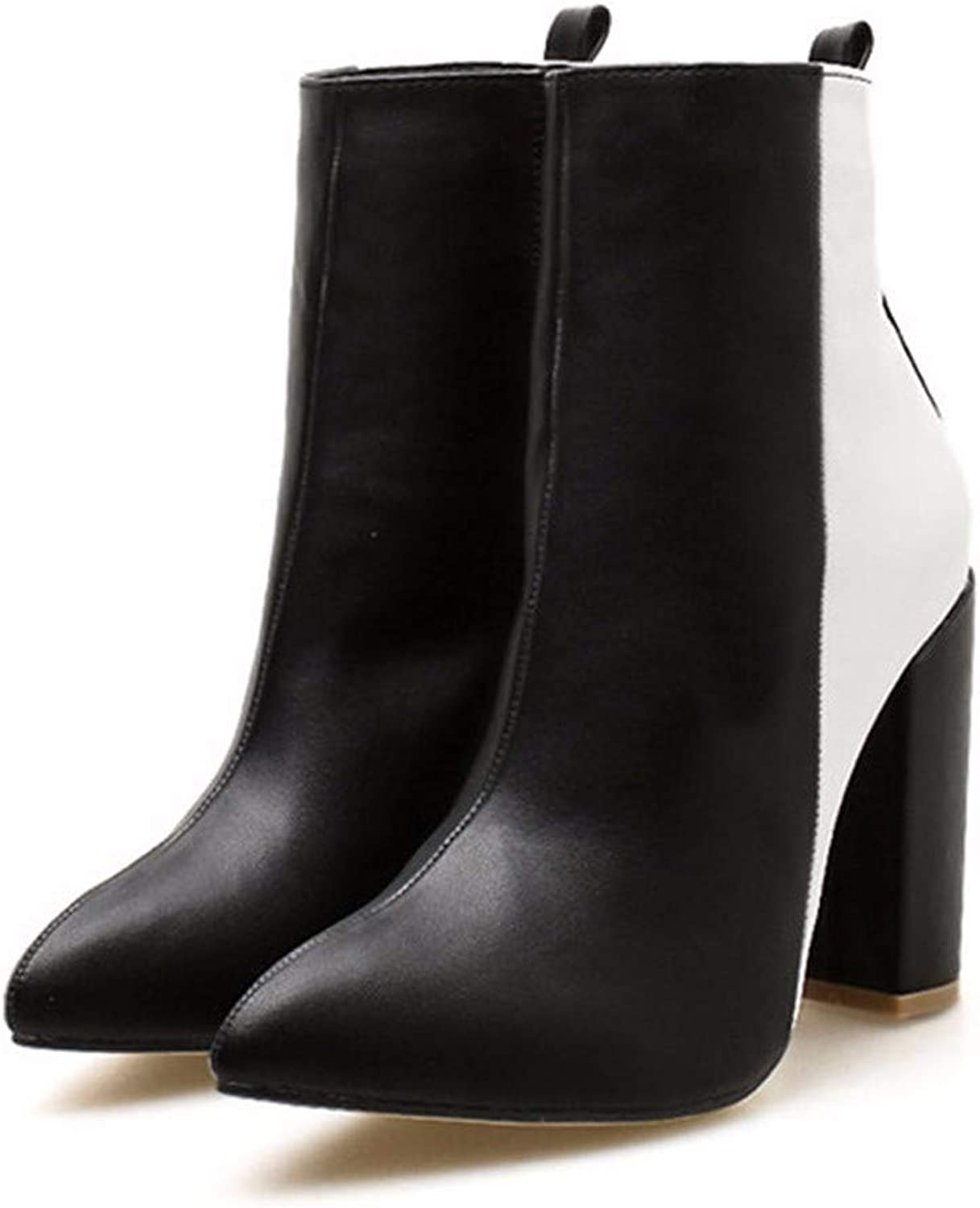 SFSYDDY Popular shoes Black and White Heel Height 10Cm Pointed Thick Heel Ankle Boots Side Zipper Long Legs Slim Short Boots Martin Boots