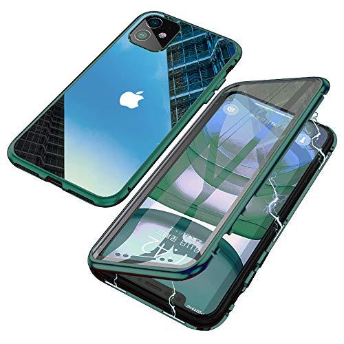 Jonwelsy Cover per iPhone 11 (6,1 Pollice), Adsorbimento Magnetico Paraurti in Metallo con 360 Gradi Protezione Case Doppi Lati Trasparente Vetro Temperato Flip Custodia per iPhone 11 (Verde Notte)