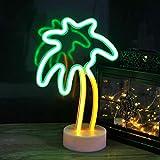 Señal de neón de árbol de coco con base, luz de neón de palmera LED - Decoración de habitación USB/batería lámpara de noche, neón para dormitorio, bar, pared, Navidad, juguetes para niños