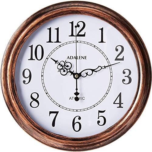 Adalene Atomic Wall Clocks Battery Operated - Vintage Atomic Clock Analog Dislay - Rustic Atomic Wall Clock for Living Room Decor, Kitchen Bedroom Bathroom - Modern Retro Wall Clocks Large Decorative