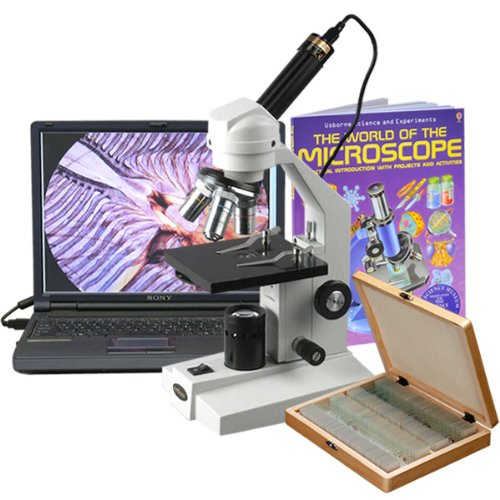 AmScope M200C-PS100-WM-E Digital Monocular Compound Microscope, WF10x and WF25x Eyepieces, 40x-1000x Magnification, Tungsten Illumination, Brightfield, Single-Lens Condenser, Coarse and Fine Focus, Mechanical Stage, 110V, Includes Set of 100 Prepared Slides, Book, and 0.3MP Camera and Software