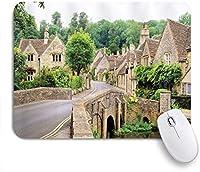 EILANNAマウスパッド イギリスの農家のイギリスの村の古い石造りの家橋の歴史的なストリートイメージ ゲーミング オフィス最適 高級感 おしゃれ 防水 耐久性が良い 滑り止めゴム底 ゲーミングなど適用 用ノートブックコンピュータマウスマット