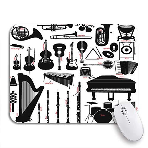 Gaming Mouse Pad Klarinette Musikinstrumente Flöte Banjo Trommel Fagott Klavier Piccolo Rutschfeste Gummi Backing Mousepad für Notebooks Computer Maus Matten