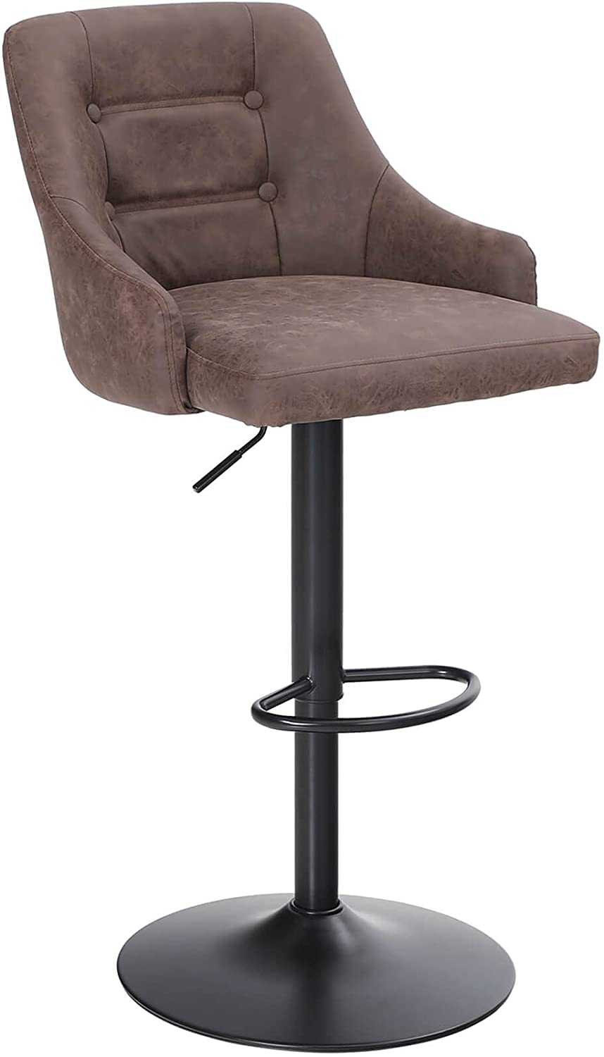 Sophia & William Bar Stools Counter Height, Adjustable Swivel Barstools with Back Bar Height, Modern PU Leather Upholstered Dining Chairs for Kitchen Pub, 300lbs, (Brown 1 pcs)