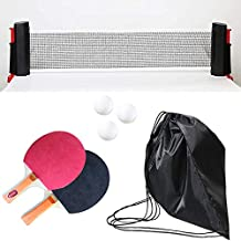 All-in-ONE Portable Table Tennis Set with Retractable Net, 2 Ping Pong Paddles, 4 pcs Balls, Attach to Any Table Surface, for All Ages. (Black)
