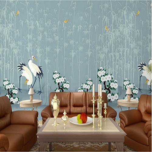 Wuyyii Chinese Stijl Muurschilderingen Behang 3D Stereoscopische Bloemetjes Vogels Muurpapieren Bloemen Bamboe Boom Fotomuurschilderingen voor Woonkamer Muren 250x175cm