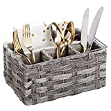 mDesign Plastic Woven Cutlery Storage Organizer Caddy Tote Bin Basket for Kitchen Table, Cabinet, Pantry - Holds Forks, Knives, Spoons, Napkins, Serving Utensils - Indoor or Outdoor Use - Gray