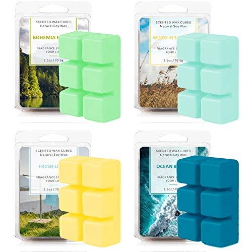 SnailDigit Wax Melts for Women, Wax Cubes, Scented Soy Wax for Warmer Cubes, Ocean Breeze, Fresh Linen, Bohemia Forest, Winds in Summer