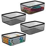 mDesign Juego de 4 cajas multiusos de metal – Organizador de cocina, despensa,...