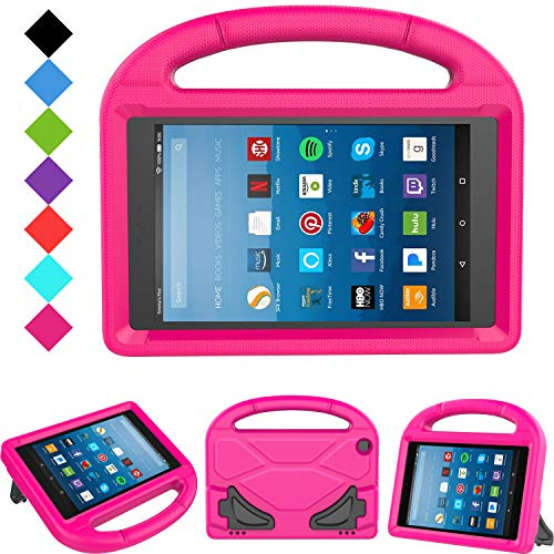 Kids Case for Fire HD 8 - TIRIN Light Weight Shock Proof Handle Kid –Proof Cover Kids Case for Amazon Fire HD 8 Tablet (7th and 8th Generation Tablet, 2017 and 2018 Release) NOT for 2020 Fire 8, Rose