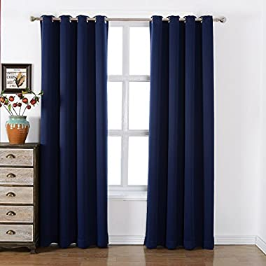 Sleep Well Blackout Curtains Toxic Free Energy Smart Thermal Insulated,52 W X 84 L Inch,Grommet Top,Set Of 2 Panels Navy Curtains With Bonus Tie Back