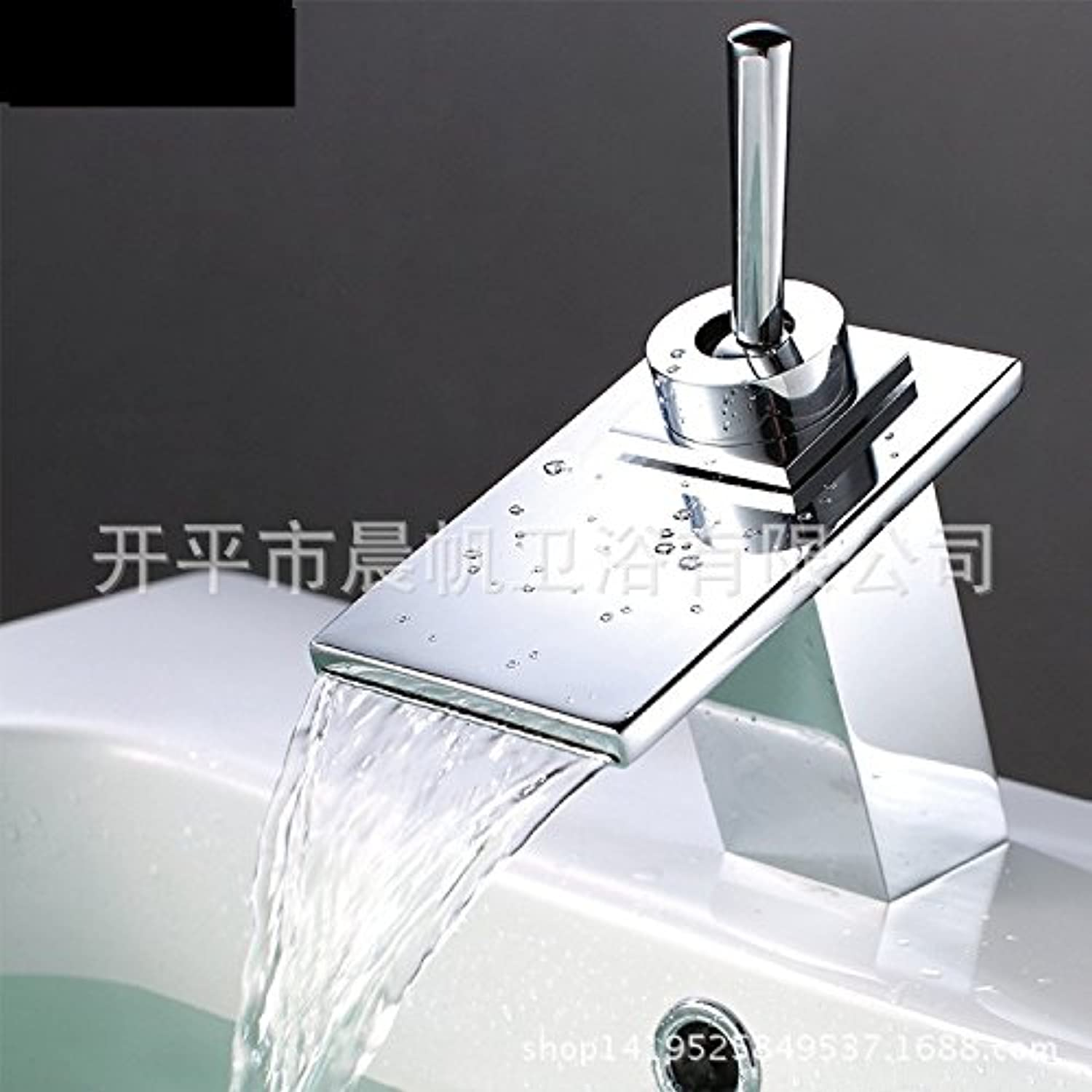 LHbox Basin Mixer Tap Bathroom Sink Faucet Square falls full copper hot and cold lowered vanity area with sink water faucet
