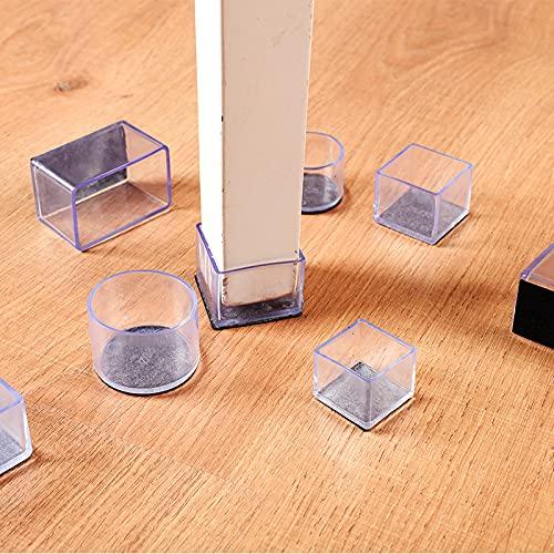 Funda de silicona transparente para mesa y silla de pie de fieltro, funda de pie y asiento para mesa de protección antiruidos cuadrados, 80 x 80 mm