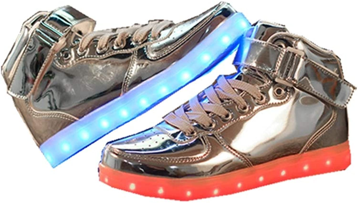 LUOBM LED Lighting shoes High Help gold and Silver USB Charging colorful Couple shoes