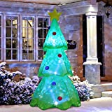 ShinyDec Christmas Inflatables 9ft. Xmas Tree with 3 Colors Changing LED Lights Airblown Yard Decorations, Green