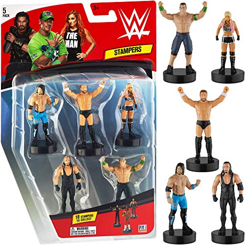 Sellos de superestrellas de la WWE, juego de 5, superestrellas de la WWE con tinta...