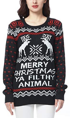 CHRISTMAS Sweater / Cardigan, with Various Lovely Patterns of Reindeer / Snowman / Snowflakes / Tree (M, Deer&Snowflake-Black)