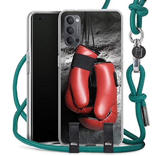 DeinDesign Carry Case kompatibel mit Oppo Reno4 5G Hülle mit Kordel aus Stoff Handykette zum Umhängen türkis Boxen Boxhandschuhe Sport