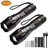 Xisunred - Pack de 2 linternas LED de alta potencia con 2 pilas recargables 18650. Linternas...