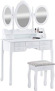 Tocador Pauline con 3 Espejos & Un Taburete I Tocador De Maquillaje con Espejos & Taburete I Mesa Tocador con 7 Cajones en...