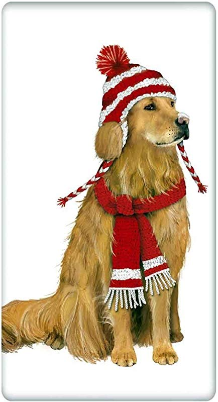 Mary Lake Thompson Flour Sack Dish Towel Santa Hat Golden Retriever