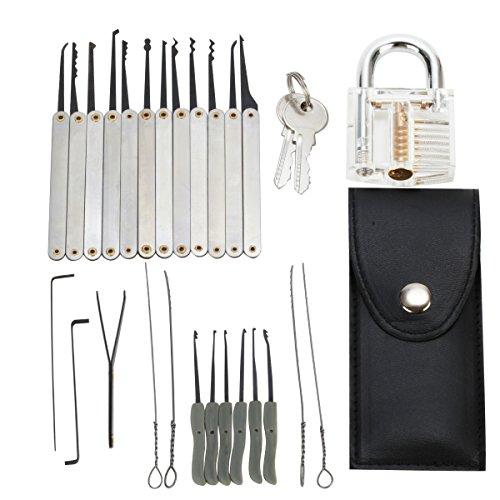 Grimaldelli set 25 Pz. con Lucchetto trasparente, LOMATEE Lock picking set ed estrazioni chiavi, Serratura apertura, Strumenti di Fabbro