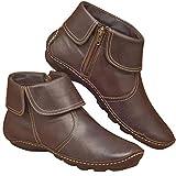 UMore Botines de Cuero Otoño Vintage con Cordones Zapatos de Mujer Botas cómodas de tacón Plano Cremallera Bota Alto Botas de Apoyo de Arco 2049 para Mujeres