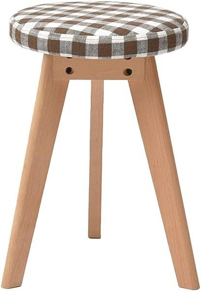 WZ Ottomans Makeup Stool Solid Wood Triangle Bracket Footstool Change Shoe Stool Living Room Bedroom Stripe Color A
