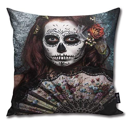 Emonye - Funda de cojín cuadrada, diseño de chica con calavera muerta, color azul granate, para sofá, coche, dormitorio, sala de estar, decoración del hogar, 45,7 x 45,7 cm