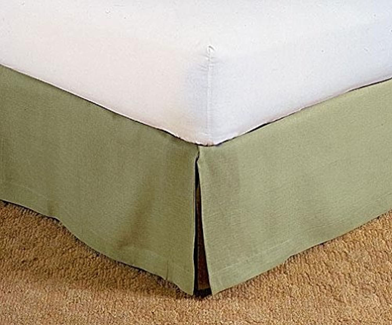 LaxLinens 450 fils cm2, 100%  coton, finition élégante 1pc Split jupe de lit d'angle en forme de goutte Longueur    21  ) simple en mousse Vert Olive