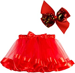 Fossen Kids 2pc Falda Tul Niña Fiesta con Arcos + Pelos, Falda Niñas Tutú de Vestir Chicas de Colores Baile de Graduación ...