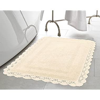 Laura Ashley Crochet Cotton 17x24 in. Bath Rug, Ivory