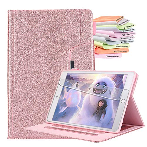 Billionn Case for iPad 10.2 Inch 8th Gen (2020)/7th Gen (2019) + Screen Protector, with Pencil Holder, Auto Sleep/Wake Smart Cover, Glitter Rose Gold
