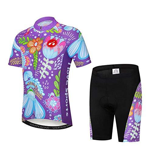 Maillot De Ciclismo Conjunto Para Hombre,Púrpura Diseño Floral De Dibujos Animados Road...