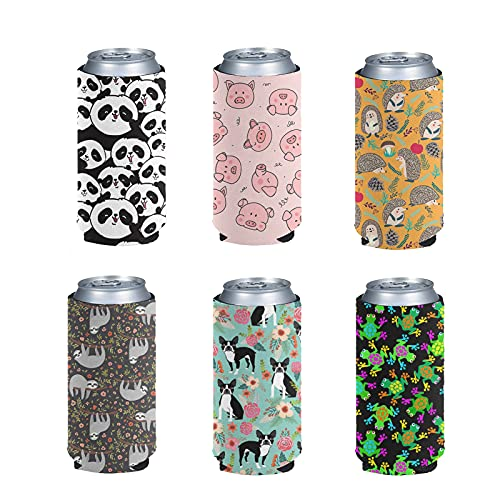 Kuiaobaty Cartoon Animal Sloth Frog Print Can Cooler Sleeve,Beer Can Insulated Neoprene Sleeve Bottle Covers Lovely Pattern Slim Sleeve for Holiday,Kids Birthday Party,6pc Set