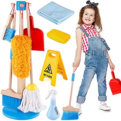Wooden Detachable Kids Cleaning Toy Set, Pretend Play Household Cleaning Tools Includes Broom, Mop, Duster, Brush, Squirt Bottle and Hanging Stand Play, Housekeeping Toys for Toddlers Girls & Boys from GiftInTheBox