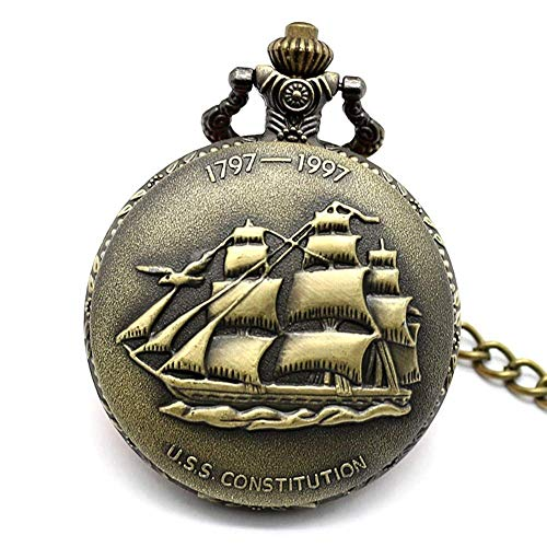 J-Love Antiguo Barco de Vela de Bronce Collar Reloj de Bolsillo Cadena Colgante Relojes de Cuarzo Hombres Mujeres