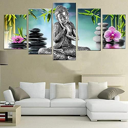 5 Piezas Cuadros Modernos Impresión De Imagen Artística Digitalizada Lienzo Decorativo para Tu Salón O Dormitorio Buddha Regalo 150 X 80 Cm.