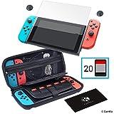 CamKix Kit de Rangement et de Protection Compatible pour Nintendo Switch 4-en-1: étui Rigide en Nylon avec 20 Inserts de Carte de Jeu, Protecteur d'écran en Verre trempé, 2 Pochettes, Chiffon
