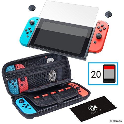 CamKix Opslag- en Beschermingskit compatibel met Nintendo Switch: Harde nylon hoes met 20 inzetstukken voor gamekaart, Screenprotector van gehard glas, Duimgreepbeschermers, Reinigingsdoek