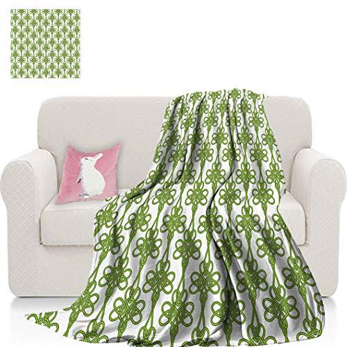 Irish Soft Flannel Blanket, Entangled Clover Leaves Twigs Celtic Pattern Botanical Filigree Inspired Retro Tile Blankets for Sofa, 60' L x 39' W Green Cream