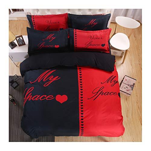 ANAZOZ Juego de Cama 4 Piezas,Juegos Cama Nórdico Negro Rojo My Space Corazón(Edredón 220x240cm Sábana 240x260cm Almohadas 74x48cm x 2)