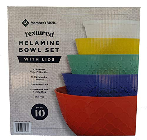 Member's Mark Textured 10 Piece Melamine Bowl Set with Lids Solid Color