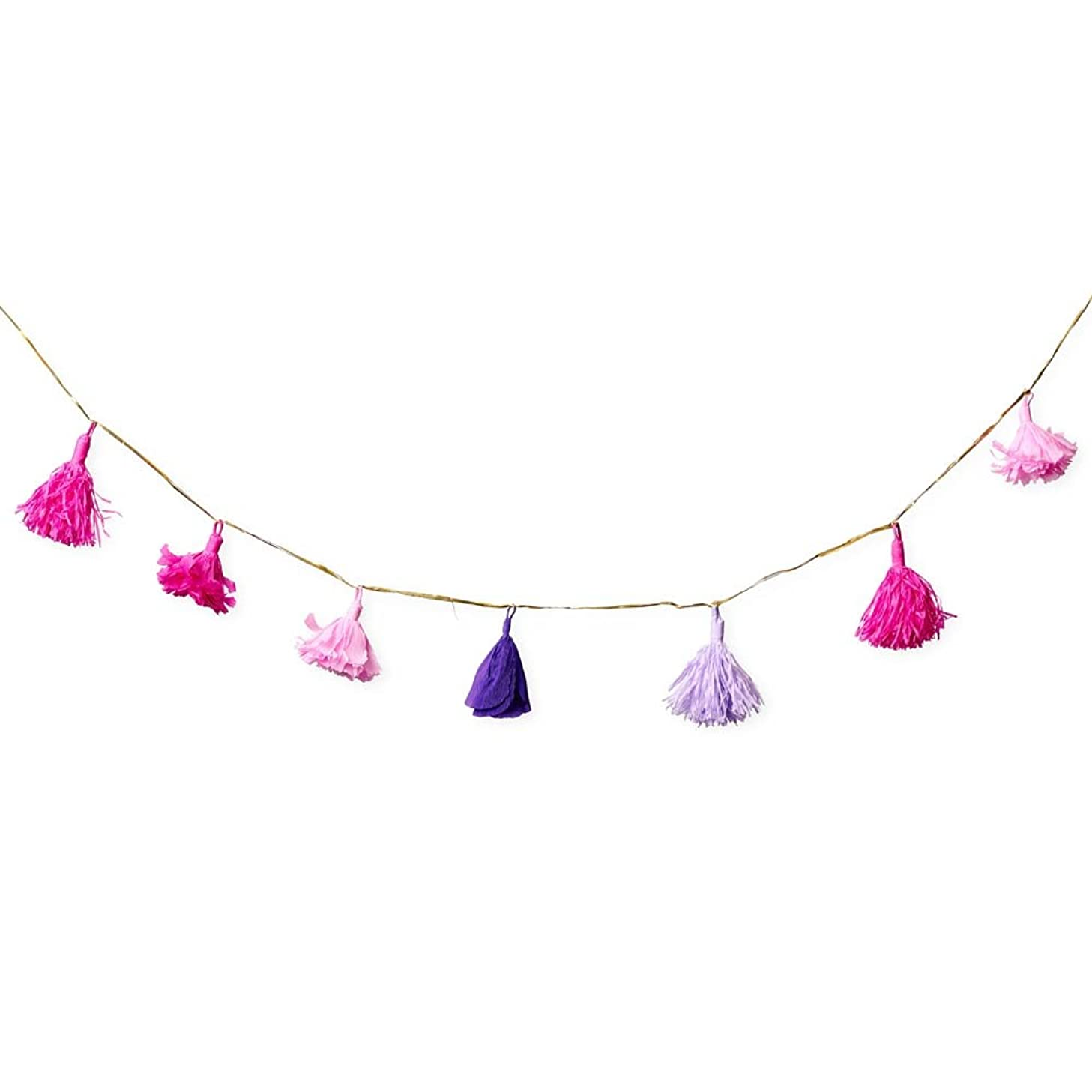 UNELEFANTE Handmade Crepe Flower Garland (6.29 ft Long), 7 Flowers per Garland. Ideal for Party Decoraions. Color : Pink/Purple. No Assembly Needed.