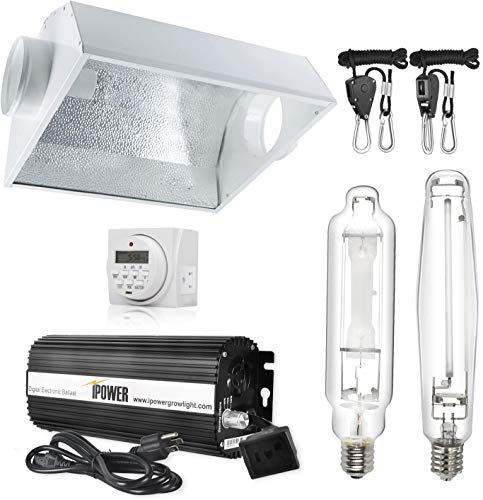 iPower Hydroponic 1000-Watt HPS & MH Bulbs Digital Dimmable Grow Light System Kit Air Cooled Reflector Hood Set with Timer (Enhanced Version), 1000W, White
