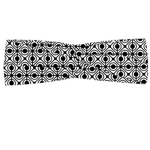 ABAKUHAUS Diadame círculos, Banda Elástica y Suave para Mujer para Deportes y Uso Diario Modelo retro geométrico de las formas de diamante biselado y puntos de baldosa Marcos, En blanco y negro