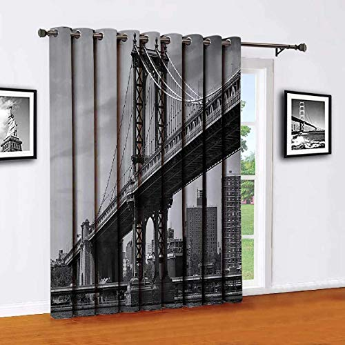 New York Wear-resistant color curtain Bridge of NYC Vintage East Hudson River Image USA Travel Top Place City Photo Art Print For living room or bedroom W84 x L84 Inch Grey