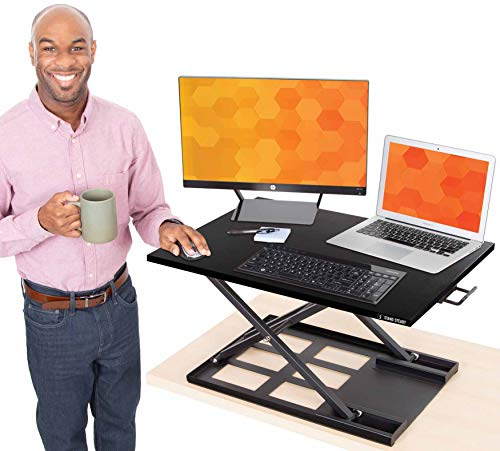 Stand Steady X-Elite Pro Standing Desk Converter | Instantly Convert Any Desk into a Stand Up Desk | Easy Lift Height…