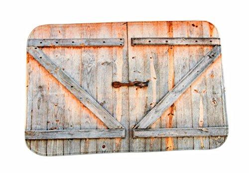 A.Monamour Retro Madera Tablones Puerta Rústico País Décor Antideslizante Microfibra Franela Alfombra De Baño Estera Alfombrillas para Puerta De Entrada Dormitorio 40X60Cm / 16X24